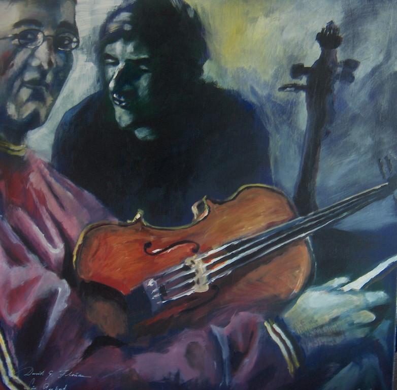 David und Florian, Acryl auf Leinwand, 2004, 1 x 1 m