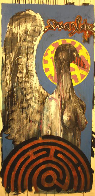 Swanlake 2011, Acryl, Lack, Rost auf Leinwand, 1,6 x 0,8m