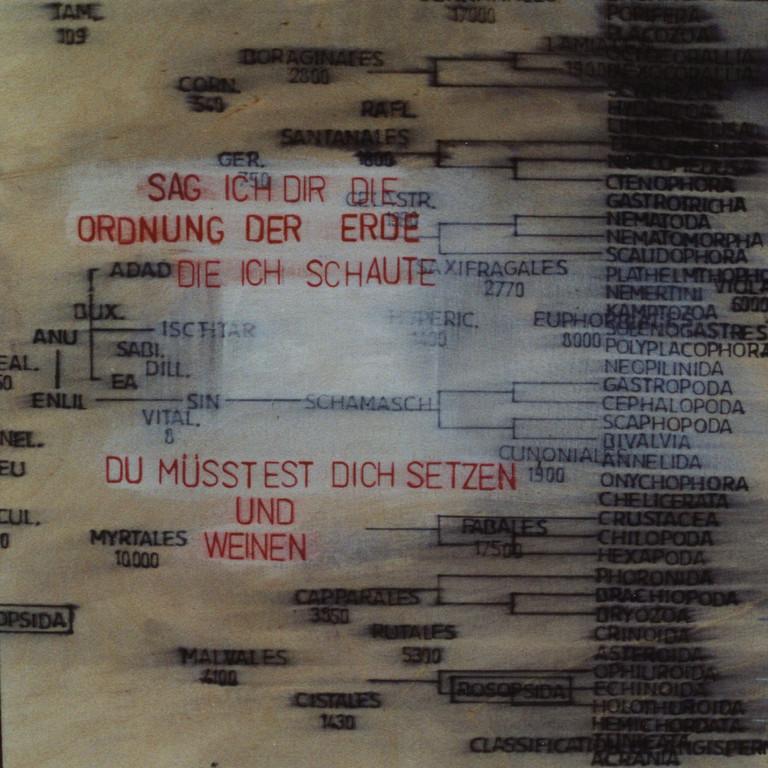 Tafel 12b, Acryl auf Holz, 2001, 0,3 x 0,3 m