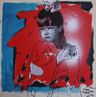 Japan girl, Acryl und Edding auf Holz, 2009, 0,25 x 0,25 m