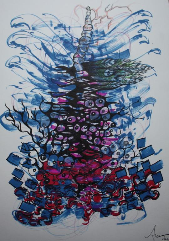 hommage klimt, Grafik/papier, 0,4 x 0,3 m