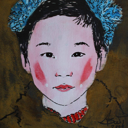 China girl, Grafik/Rost auf Holz, 2009, 0,15 x 0,15 m