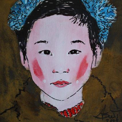 China girl, Grafik/Rost auf Holz, 2009, 0,15 x 0,15 m