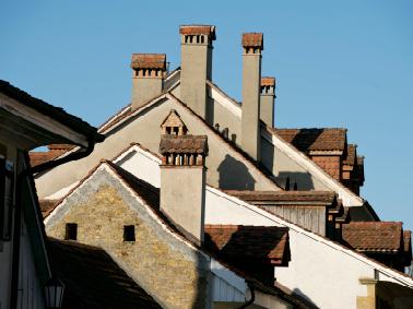 Blick über die Altstadtdächer am Tag der Hochzeit, Murten 2012