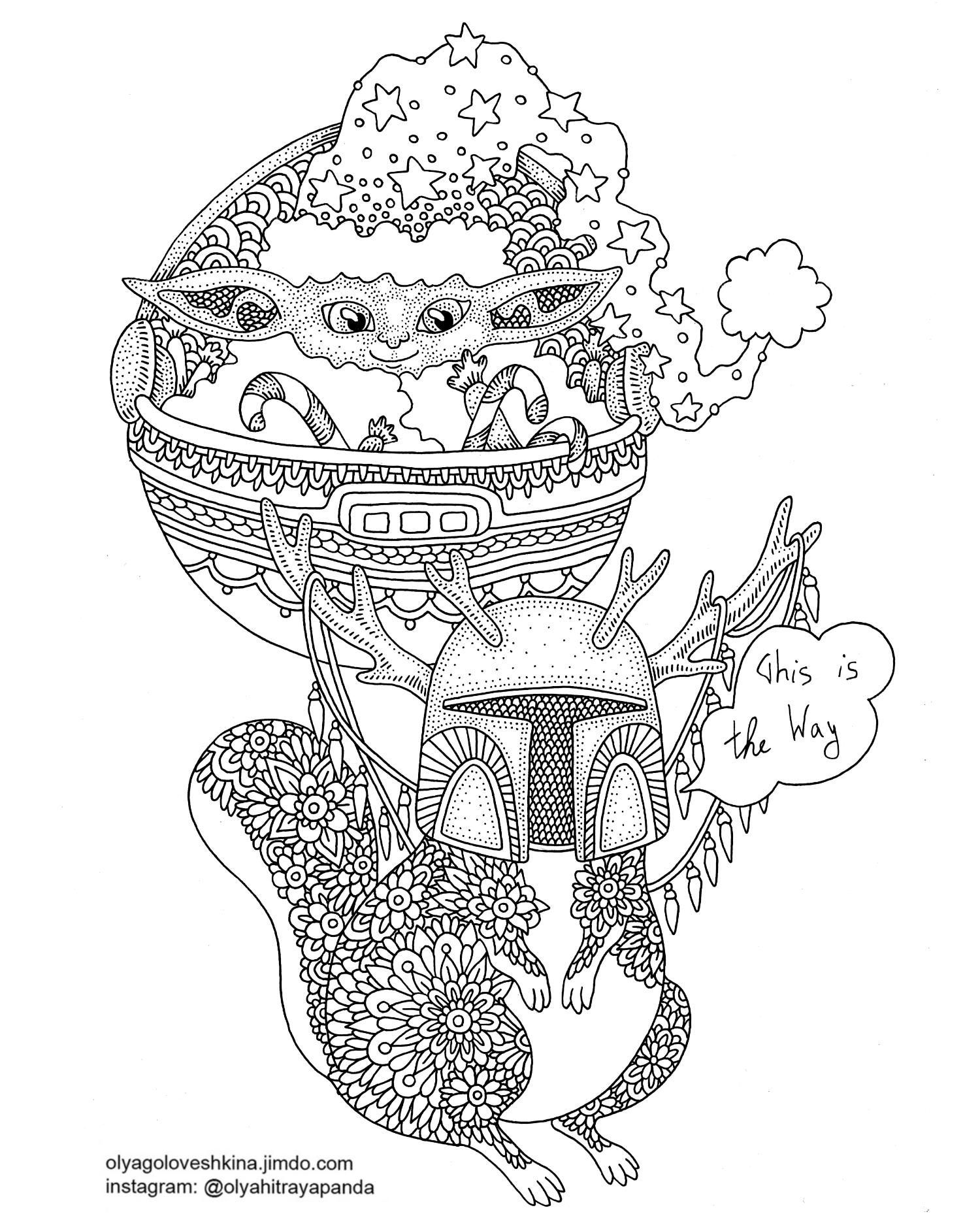 free christmas coloring page star wars the mandalorian baby yoda
