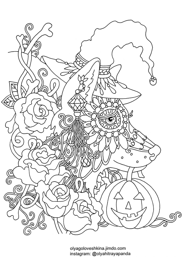 Printable Adult Coloring Pages Halloween - Coloring Home | 842x595