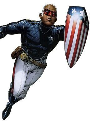 Patriot mit Captain-America-Schild und Nick-Fury-Gedächtnisfrisur