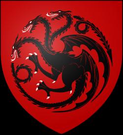 Das Wappen der Schwarzfeuers: schwarzer Drache auf rotem Grund statt roter Drache auf schwarzem Grund. Der arme farbenblinde Lord Sheswick wechselte übrigens während der Schlacht fünfzehn Mal die Seiten.