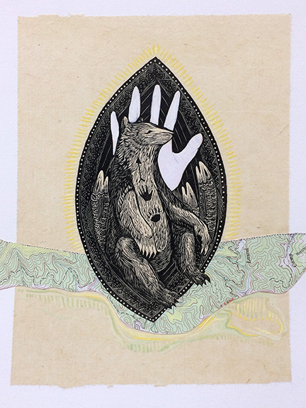 """Pause: River Runs, approx 10""""h x 8""""w, relief engraving, mixed media, collage, $175"""