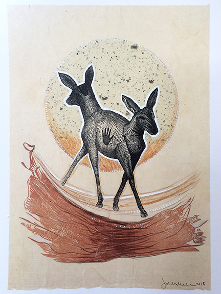 """Double Deer: Earth, approx 12""""h x 9""""w, relief engraving, mixed media, $200"""