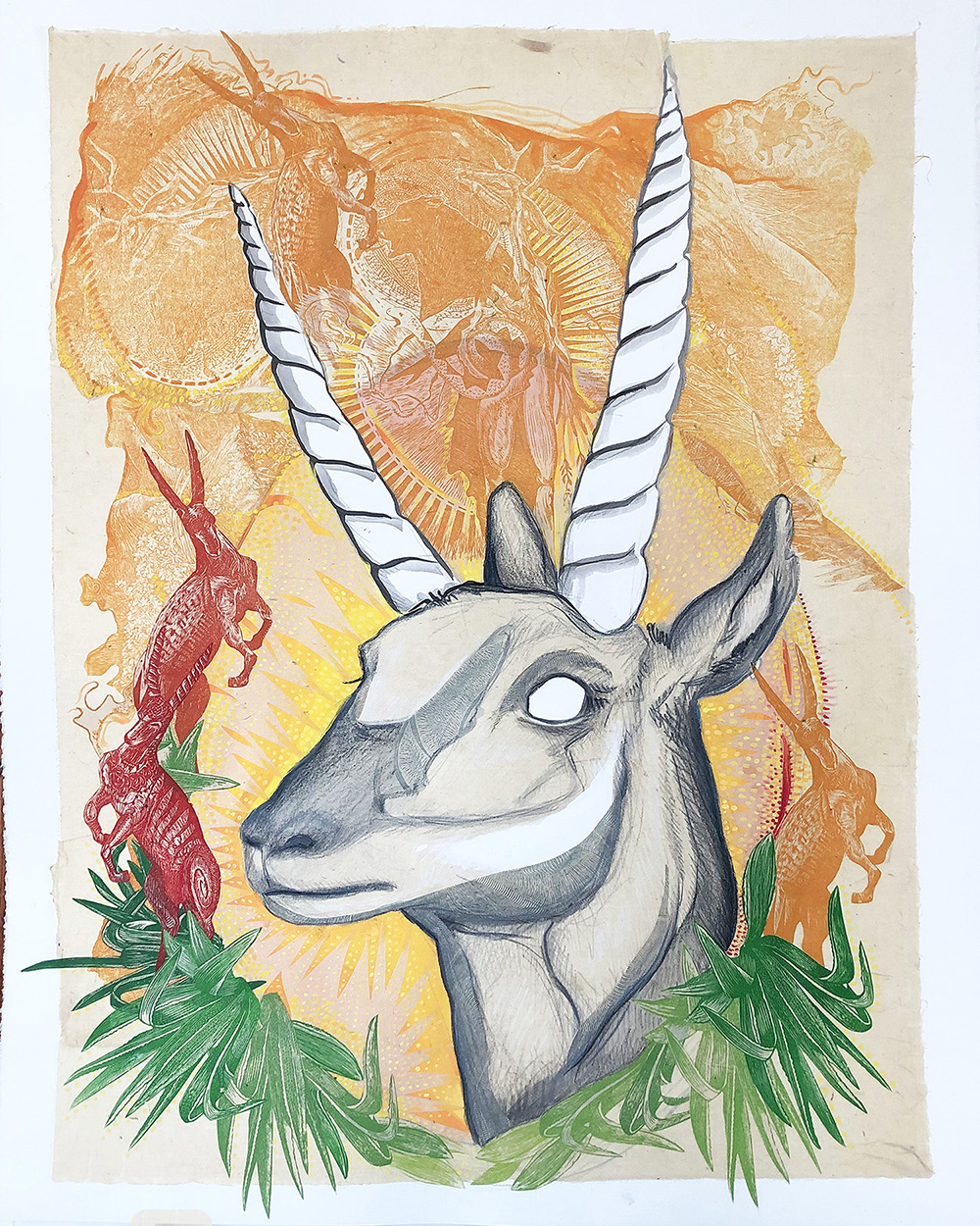 "Antelope Portrait, 28""h x 22""w; $2000"