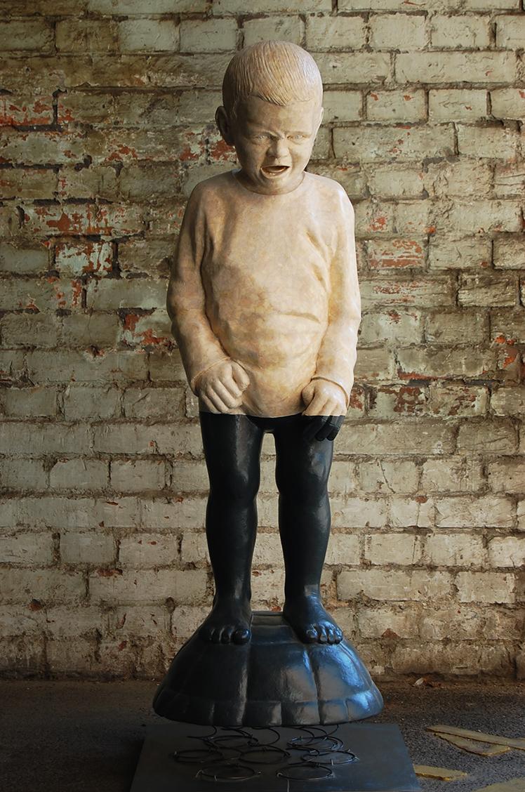 'Schreihals'  // Skulptur: Deike Heeren //  Polysterol, Spachtel, Papier, Lack, H 100 cm, nach W. Verginer,