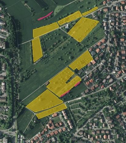 Gelbe Flächen = FFH-Mähwiesen, rote Flächen = Biotope