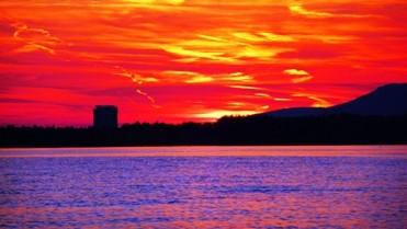 Sonnenuntergang von Saline aus gesehen