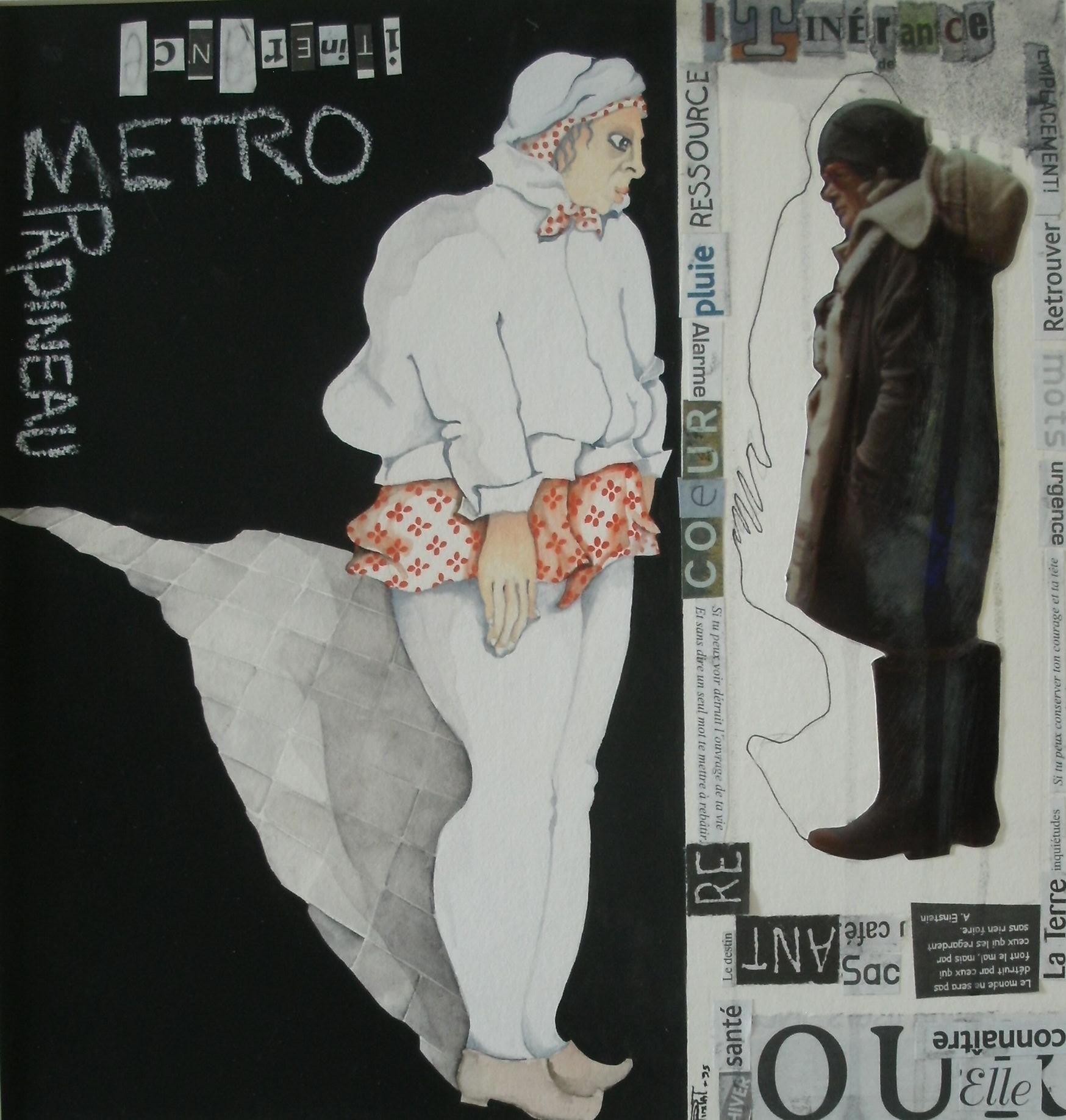 L'itinérante du métro Papineau, technique mixte sur papier