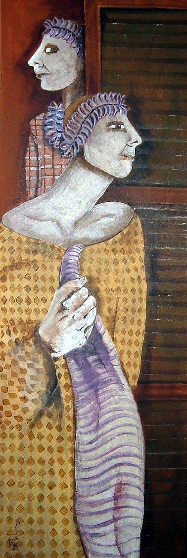 MURMURE DANS L'ANTICHAMBRE,  acrylique sur toile, collection privée