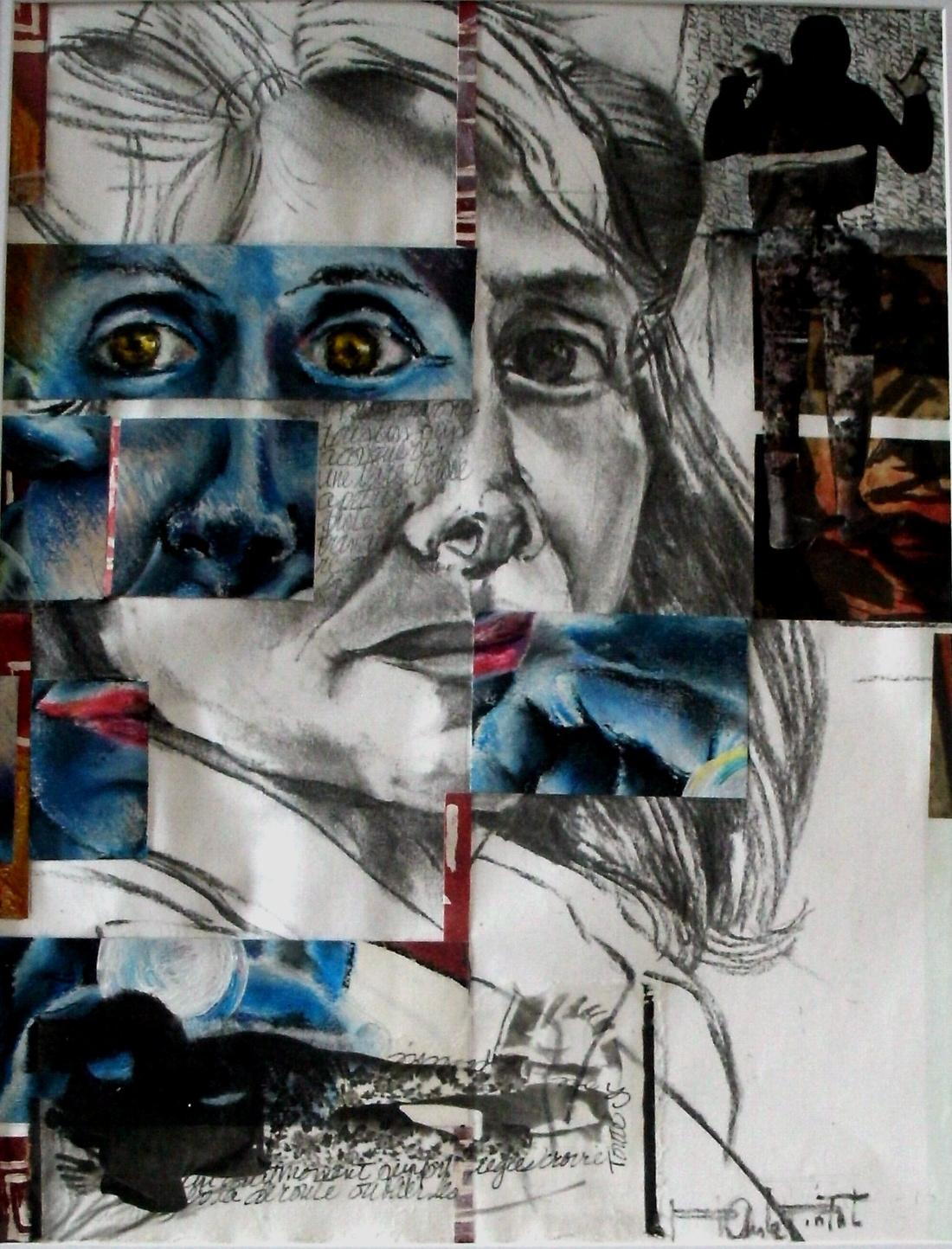 Autoportrait, technique mixte sur papier, vendu