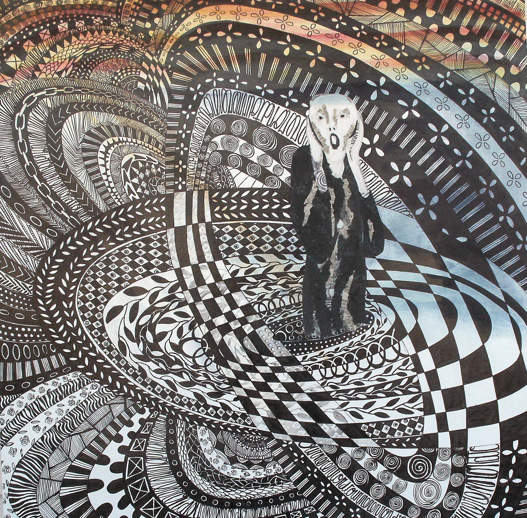 VALSE AUX MILLE TEMPS DE LA PEUR, (interprétation de l'oeuvre LE CRI d'Edvard Munch, encre de chine, aquarelle, 24'' X 24'  ', 720,00$