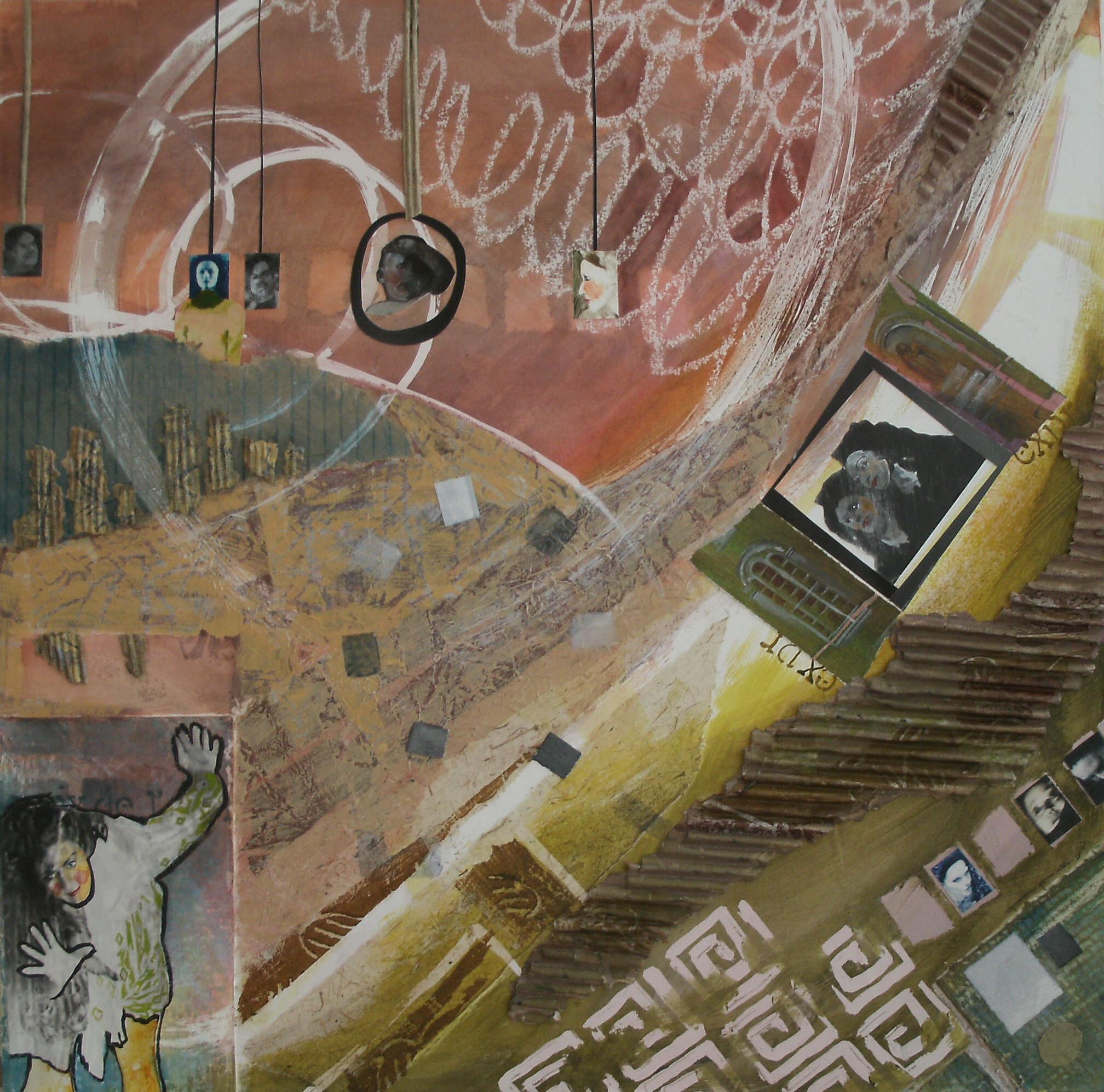 HORS DU CADRE, aquarelle et technique mixte sur bois, 24'' X 24'', 480,00$