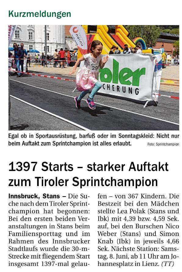 Quelle: Tiroler Tageszeitung, Nummer 143 24. Mai 2019