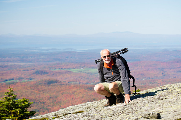 Peter auf dem Mount Madison - Vermont - New England USA mit Linda´s Kameratechnik auf dem Rücken  -                           Peter on top of Mount Madison - Vermont - New England USA with Linda´s Camera Equipment on his back