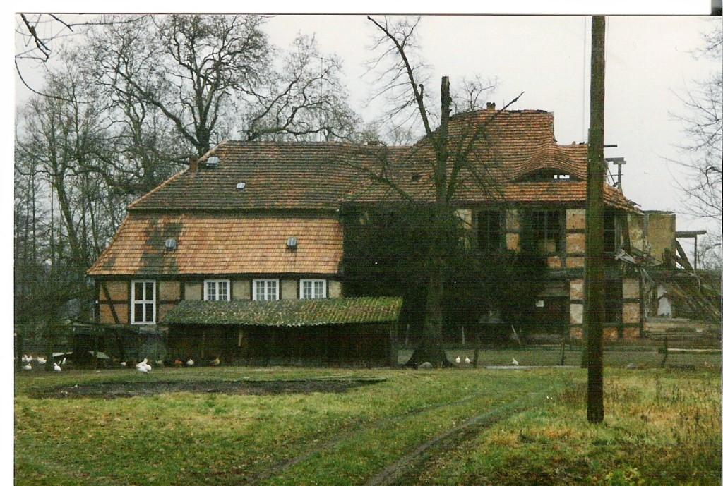 Ansicht vor dem Neubau des Wohnhauses von Herrn Hahn, Hühnerzucht vor dem Eingang ...