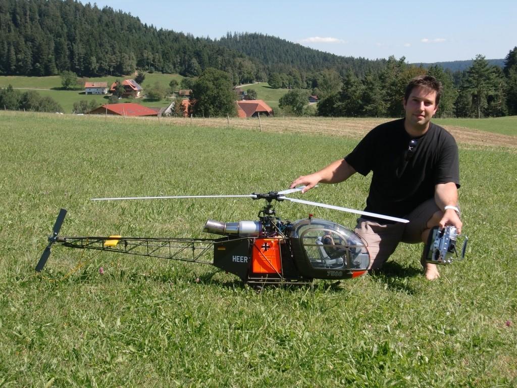 Bernds Vario Alouette 2  Scale Nachbau mit 3 Blatt 1,68m Hauptrotor, ca. 9 kg und mit Jet Cat PHT 2 Turbine