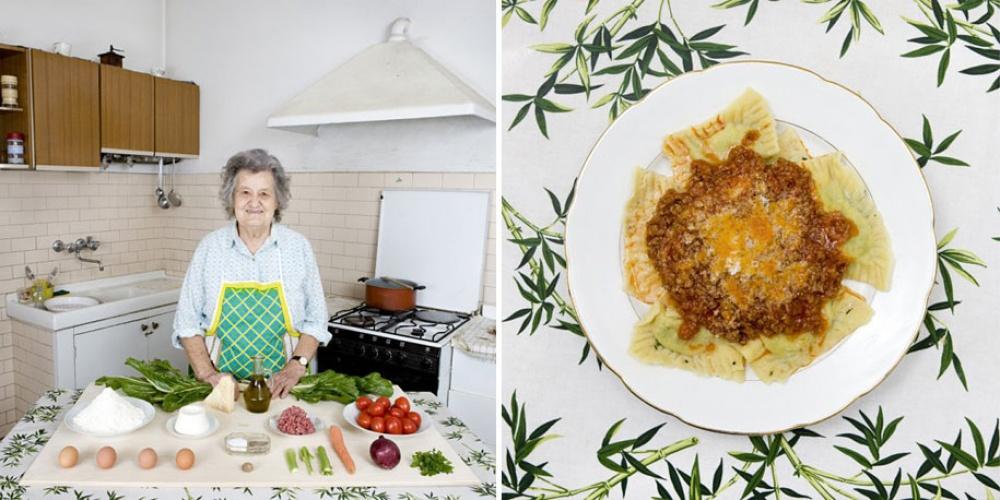 Италия. Блюдо: равиоли с мясным соусом, листовой свеклой и рикоттой.
