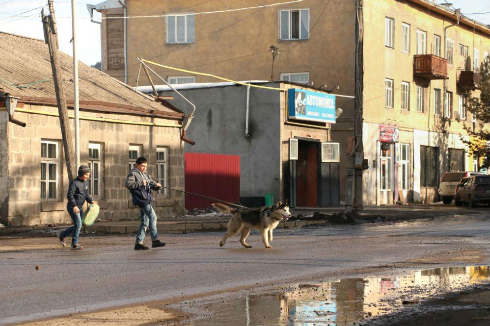 На этой фотографии, похоже, собака выгуливает мальчика. Город Ахалкалаки. Фото: Нино Одзелашвили