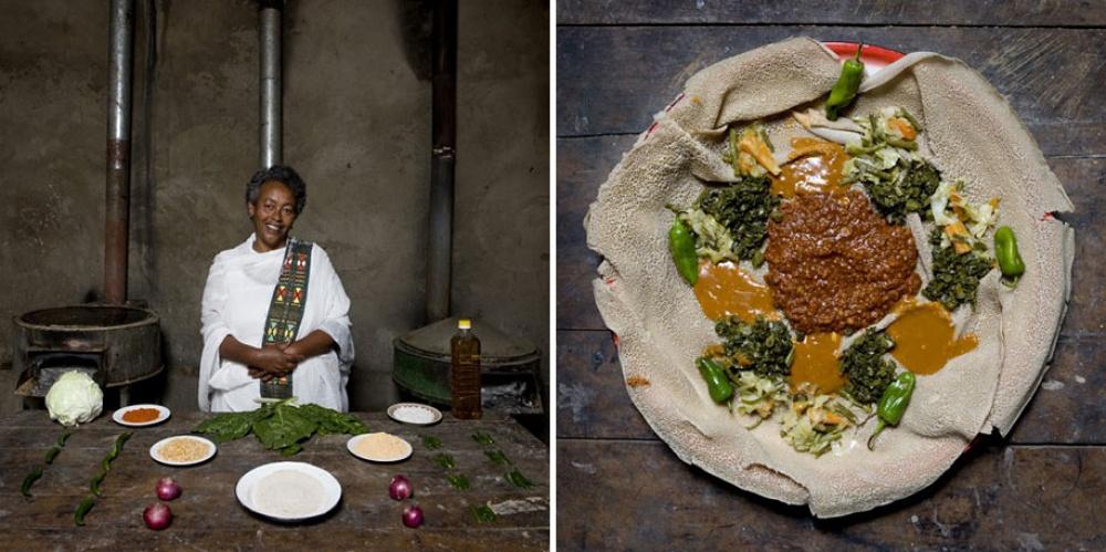 Эфиопия. Блюдо: инджера (блины с зеленью и соусом).