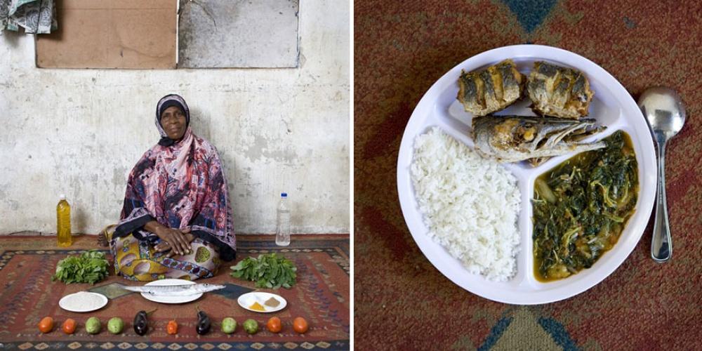 Занзибар (Танзания). Блюдо: рис, рыба и овощи в манговом соусе.