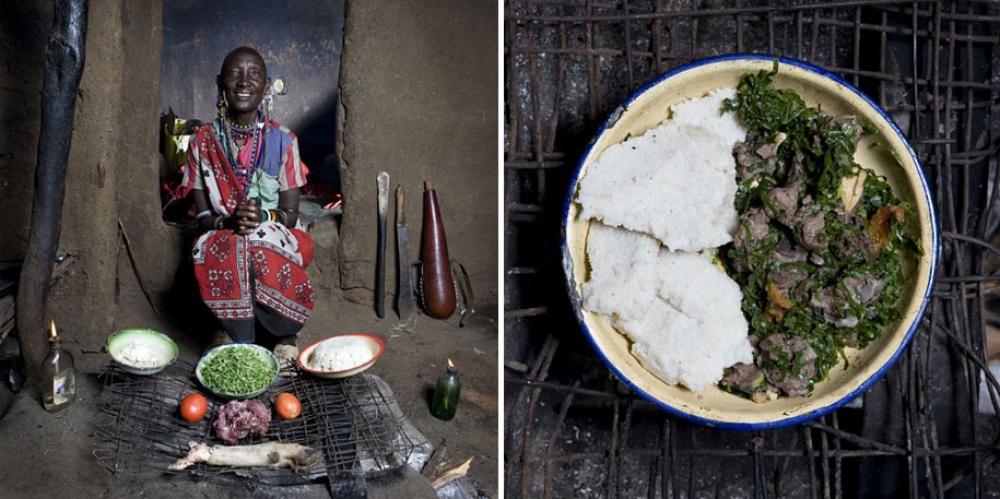 Кения. Блюдо: каша из кукурузной муки с овощами и козьим мясом.
