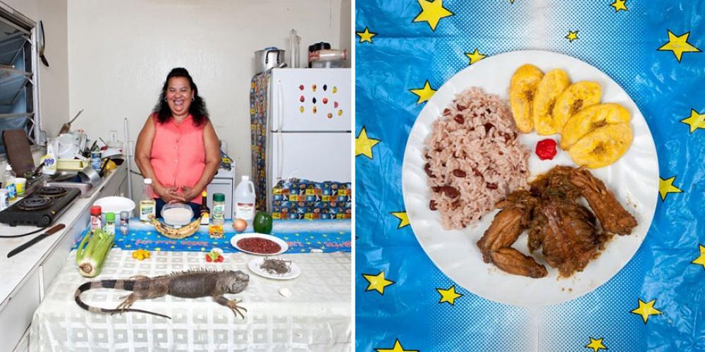 Каймановы острова. Блюдо: игуана с рисом и бобами.