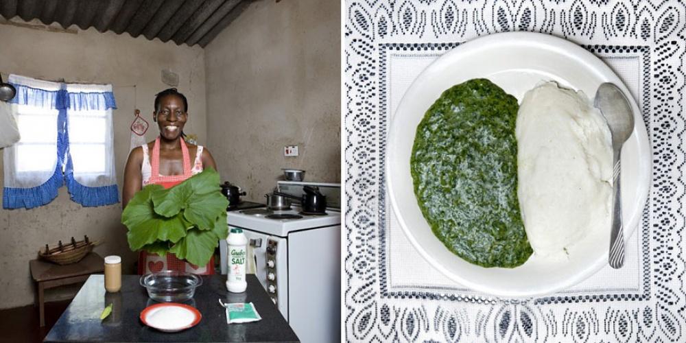 Зимбабве. Блюдо: садза (каша из белого маиса и листья тыквы в арахи