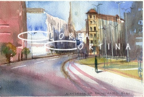 Alrededor de Bellas Artes.Bilbao.13x18cm.Acuarela/papel.