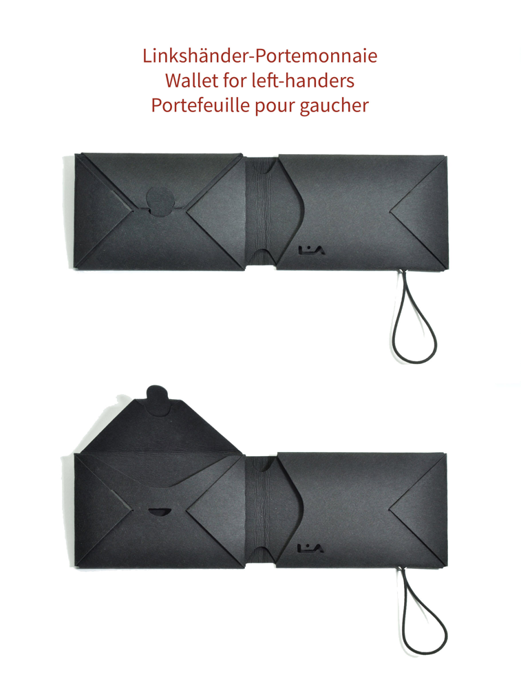 Portemonnaie für Linkshänder, Wallet for left-handers, Portefeuille pour gaucher