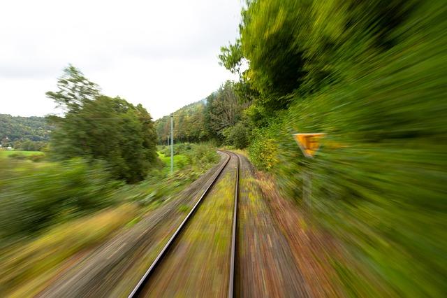 Blick aus einem schnellen Zug