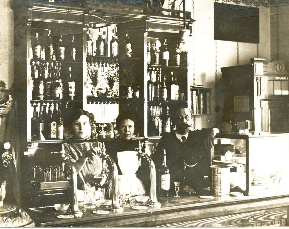 Gasthaus in Bremen - Kartenstempel v. 1910 - Neusilber Bogensäule