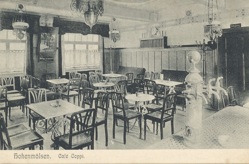 Cafe Coppi Hohenmölsen 1913 - Majolika m. Neusilber-Querarm