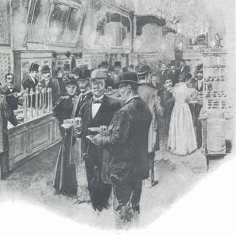 """Früher Nachweis eines CO2 - Ausschanks um 1895 """"Aschinger Berlin"""""""