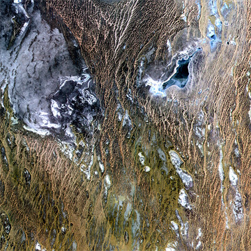 Northern part of the Karakum Desert in Turkmenistan. The image was acquired by ASTER. ©ERSDAC, Japan.