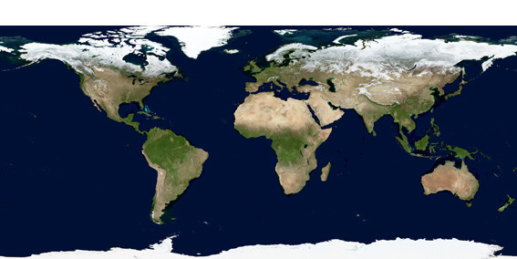 Distribution of arid lands in the world. It is characterized by low annual rainfall of less than 250 mm, by evaporation exceeding precipitation and a sparse vegetation. ©NASA GSFC.