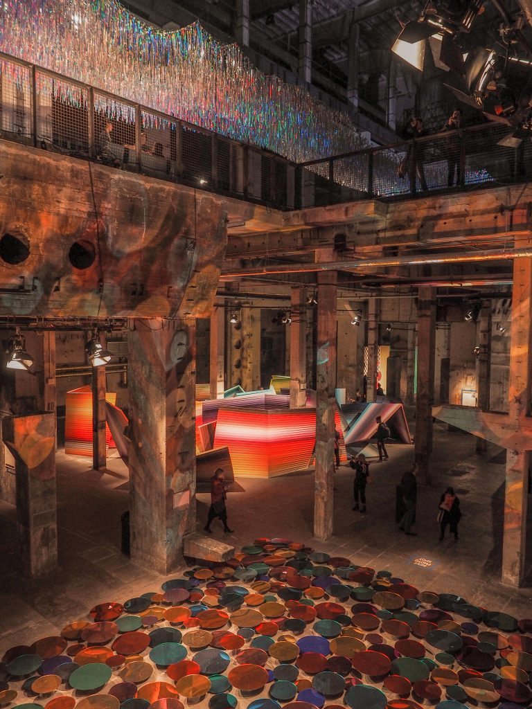 overview of the two stories of the playground with different installations of international artists