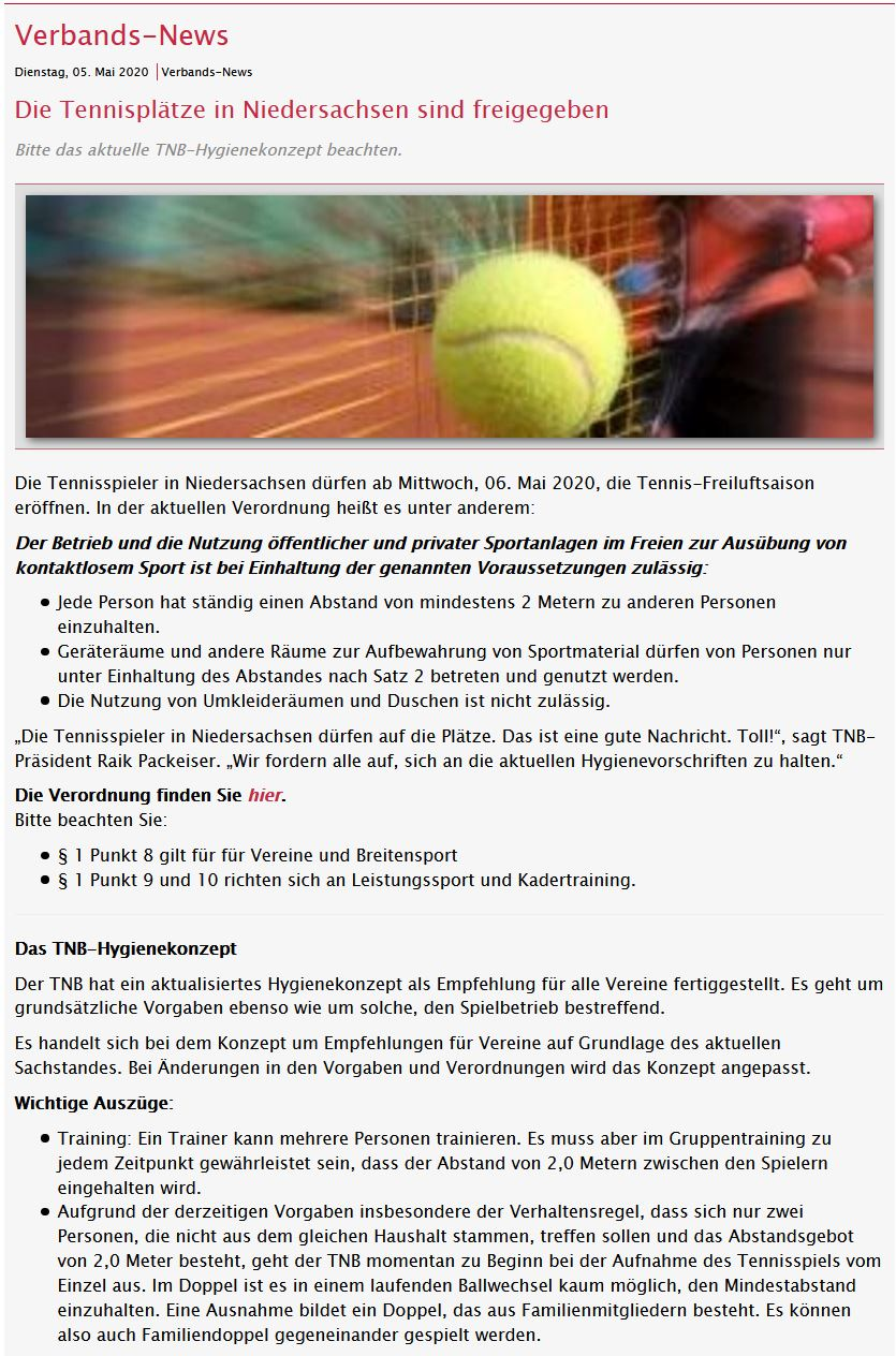 11.5.2020 Tennis darf wieder gespielt werden