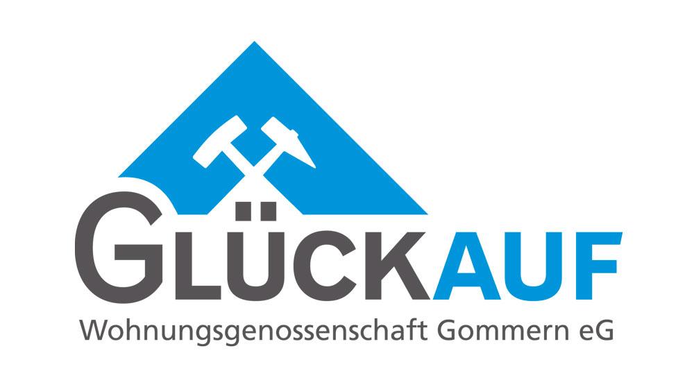 """Logogestaltung für die Wohnungsgenossenschaft """"Glückauf """" in Gommern"""