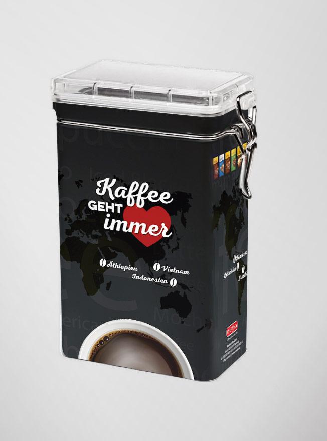 Kaffeedosengestaltung für Röstfein