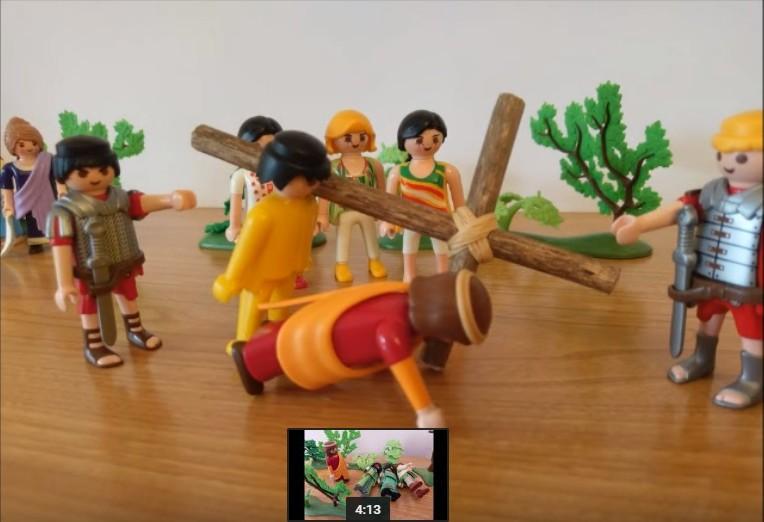 Le chemin de croix -Simon de Cyrène aide Jésus