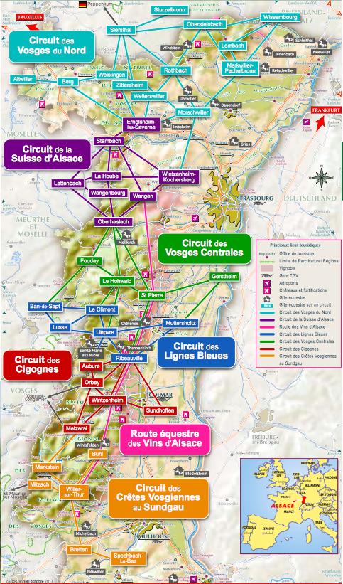 Représentation des circuits d'Alsace pour la randonnée à cheval