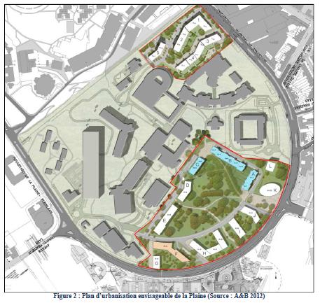 Projet Universalis Park (dernière version officielle, 2013), source : Rapport d'incidences d'Art&Build de Novembre 2012