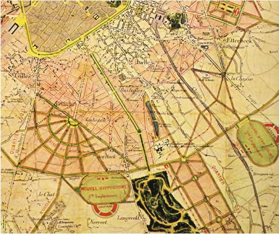 Plan de V. BESME, 1866, qui avait proposé d'installer l'hippodrome sur la Plaine ou à proximité du Bois de la Cambre, sources 7, 8